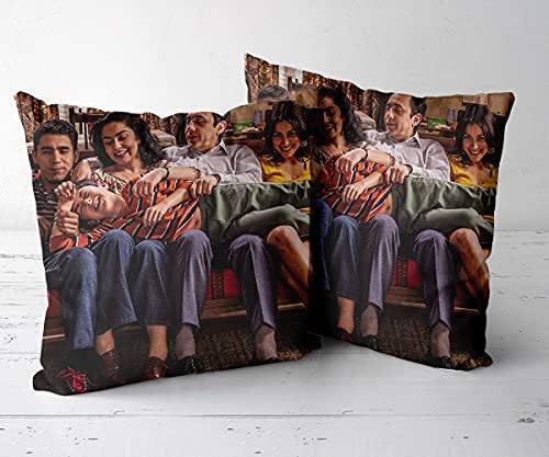 Funda de Cojín Funda de Almohada Cuadrado para sofá sofá Sala de EstarJuego de 2 piezas-16 x16-Funda de cojín, Almohada Decorativa para sofá, Coche, Cama y decoración de sillas.-Los 80 1