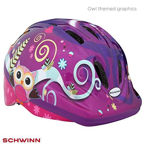Schwinn - Casco para niña, diseño de búho, Color Morado, Talla XS/S