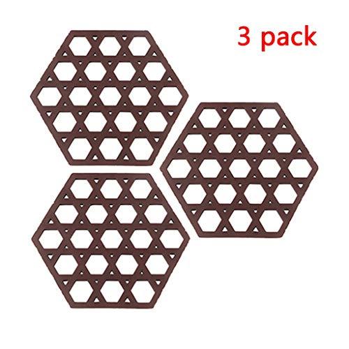 3 Stück Edelstahl Garblech Trivet Ständer for Druck Cooke trivets for heiße Töpfe und Pfannen Granit Löffelhalter Deckelöffner Hitzebeständige Griffige flexible haltbare (Color : Wine Red)