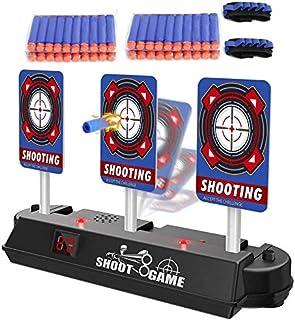 Airtana おもちゃ 電子ターゲット 7pcsセット Nerfナーフ対応 電子銃射撃ターゲット 自動起き上がり機能 子供玩具 電子ターゲット*1+弾丸*4列(合計40枚)+リストハンド*2 (青)