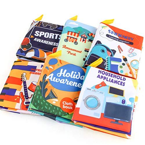 Enkomy Libros de Tela para bebés, 6 Piezas de Libros de Tela para bebés Suaves y no tóxicos, Juego de Libros Blandos de música para Deportes de Tela para recién Nacidos