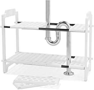 """madesmart Expandable Undersink Shelf Organizer - White   CABINET COLLECTION   Expands to L-18.13"""" X W-17.25"""", width expand..."""