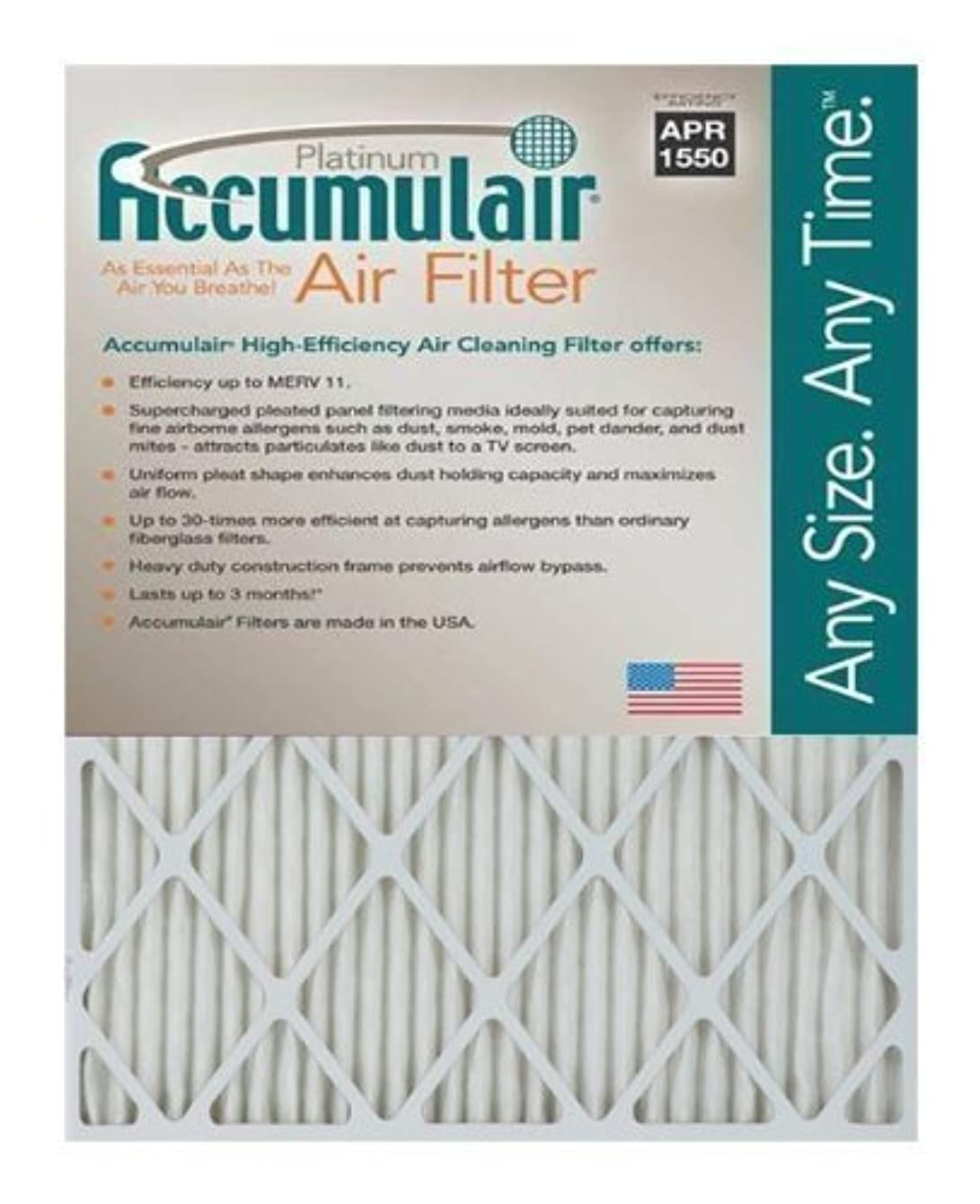 Accumulair Platinum 16x25x1 (15.75x24.75) MERV 11 Air Filter/Furnace Filters (4 pack)