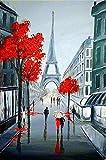 Kits de pintura rápida por números para adultos y niños de Rain Paris Red Maple sets decorativos con pincel y pigmento acrílico DIY pintura digital en lienzo para adultos principiantes-4