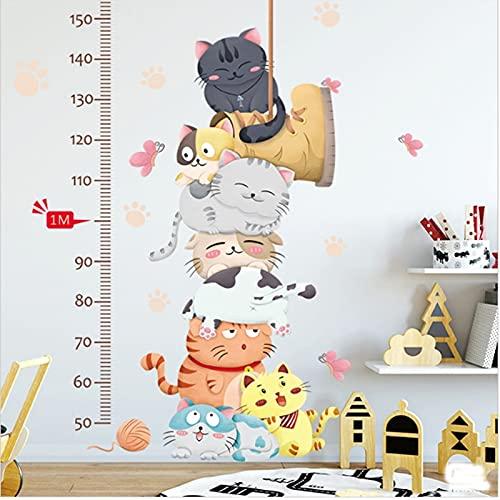 Pegatinas de pared de medición, animales de gato de dibujos animados para niños, pegatinas de regla de tabla de altura de jardín de infantes, decoración del hogar de guardería