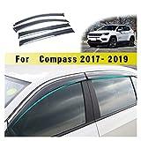 ZLLD Deflectores de Viento Coche Estilismo Humo Ventana Sol Rain Visera Deflector Guardia Sunny Visor Accesorios para Jeep Compass 2017 2018 Aire Visera Lateral
