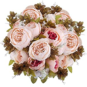 Silk Flower Arrangements BOMAROLAN Vintage Artificial Peony Bouquet Silk Wedding Flowers, Pack of 2 Fake Flowers Home Party Festival Decoration(Light Pink)
