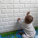 5 pcs carta da parati 3d mattoni, ytat mattoni carta da parati, adesivo 3d muro di mattoni pe foam pannelli per camera da letto soggiorno moderno sfondo tv décor (5, bianco)