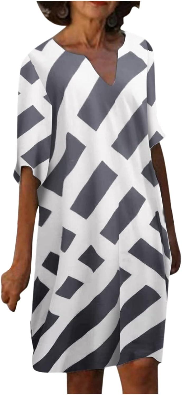 NLLSHGJ Womens Dresses Fashion V-Neck Striped Printed T-Shirt Dress Retro Half Sleeve Shift Dress Plus Size Loose Midi Dress