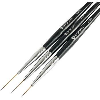Winstonia Striping Nail Art Brushes for Long Lines, Details, Fine Designs. 3 pcs Striper Brushes Set - AMAZING TRIO