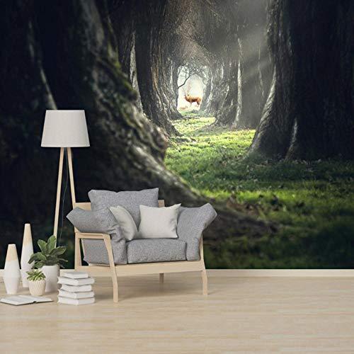 Fotobehang, fris elandwoud abstracte landschapsfoto, woonkamer TV achtergronden, woonwandfoto decor 3D 280 cm (B) x 180 cm (H)