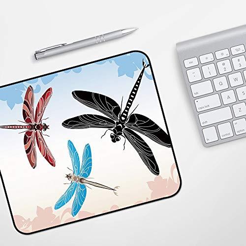 Gaming Mousepad Mauspad,Libelle, exotische libellen fliegen im wolkenhimmel tier flügel natur illustration dekorativ, schwarz blau hel,Komfort Mousepad - verbessert Präzision und Geschwindigkeit