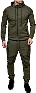 FSSE Mens Athletic Casual 2 Pieces Outfits Hoodie Jogger Pants Gym Workout Tracksuits