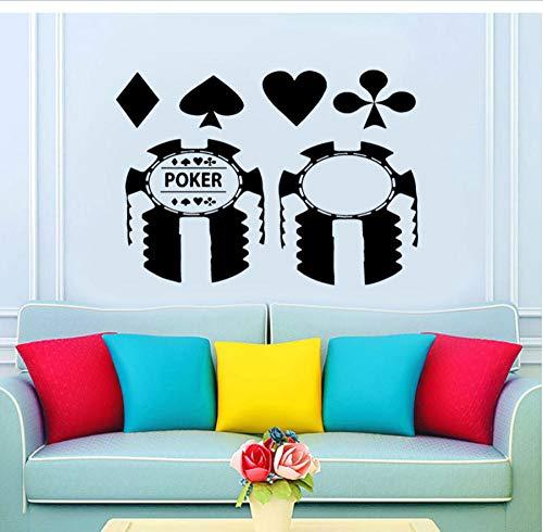 Wandaufkleber, Poker casino karte muster Benutzerdefinierte Name PVC Wohnkultur Wand Vinyl Room Interior Brief Kunst DIY Geschenk Wohnzimmer 80x57cm