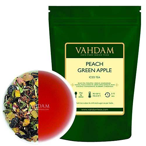 VAHDAM, pfirsichgrüner Apple-Eistee   40 Portionen, 8 Liter   100% natürlicher Inhaltsstoff   Deliciou Geschmack von Oolong-Tee und tropischen Früchten   Pfirsich-Tee   Loose Leaf   100gr (2er Set)