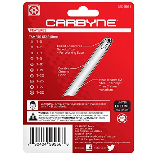 CARBYNE Folding Tamper Star Wrench Set - 10 Piece, T-6 to T-30   S2 Steel