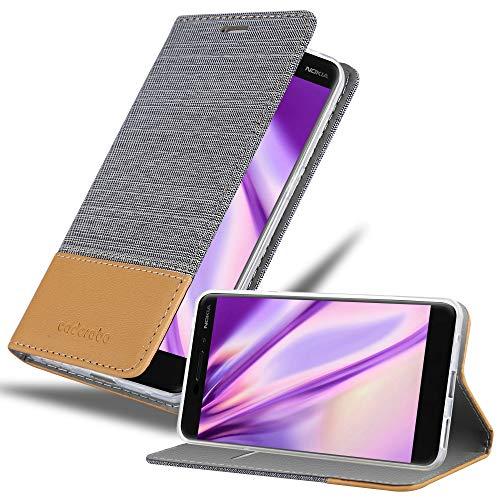 Cadorabo Custodia Libro per Nokia 6.1 2018 in Grigio Chiaro Marrone – con Vani di Carte, Funzione Stand e Chiusura Magnetica – Portafoglio Cover Case Wallet Book Etui Protezione