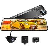 WOLFBOX 12 Pulgadas Dashcam Espejo retrovisor para automóvil, 2.5k Delantero y 1080P Trasero, Sensor Sony IMX415, función de visión Nocturna, Sistema de Asistencia de estacionamiento, GPS (G840H-1)