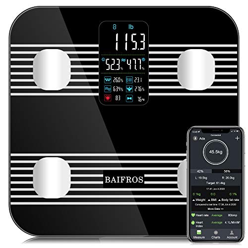 New Smart Bluetooth Body Fat Scale, BAIFROS Large Display Digital Bathroom Weight Scale Body Composi...