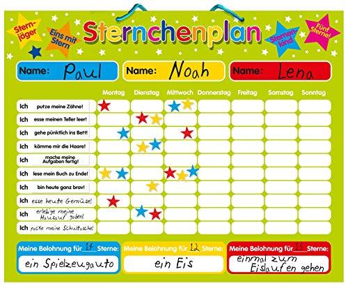 Magnetischer Sternchenplan / Belohnungstafel für bis zu DREI Kinder Feste Tafel, 40 x 30 cm, mit Aufhängeöse
