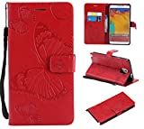 XQWY Samsung Galaxy Note 3 Case Shockproof PU Leather Butterfly Embossed Wallet Flip Case Magnetic Stand with Card Slot Folio Cover for Samsung Galaxy Note 3 Case (Red)