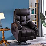 Power Lift Recliner Chair for Elderly with Massage and Heating, PU Leather Electric Recliner Chair with USB Ports, Remote Control, 3 Positions, 2 Side Pockets for Home Living Room (L-Brown)