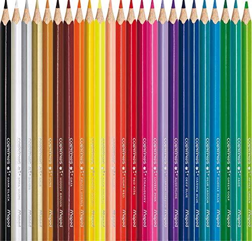 Maped – estuche de 24 lápices de colores triangulares colorpeps. mina blanda y resistente.