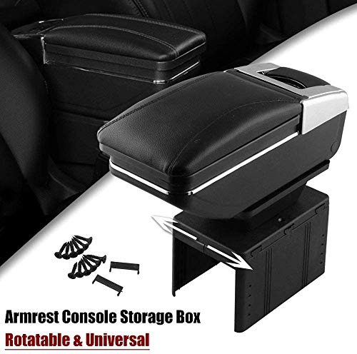 RASNONE Car Armrest Console Storage Box Rotatable Black Leather Center Box Universal Black OT306-BK-X