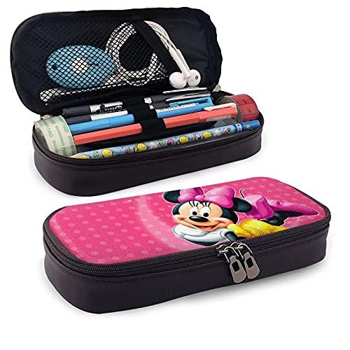 Bonito estuche de piel de Minnie Mickey Mouse con cremallera, estuche para lápices, adecuado para la escuela, el trabajo y la oficina