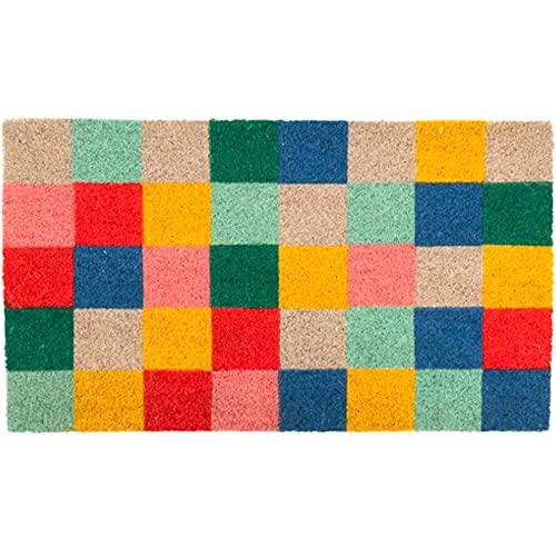 fisura DM1501 - Felpudo rectangular cuadrado verano Summer Squares multicolor fibra de coco y PVC látex H1,5 x 40 x 70 cm