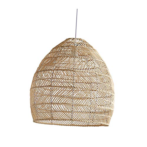 Fenteer Lámpara colgante de mimbre tejida a mano, lámpara colgante de estilo rural, lámpara de bambú redonda, lámpara de techo...