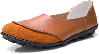 Women's Driving Loafers Round Toe Cowhide Leather Casual Loafer Slip On Flat Moccasin Walking Flats Shoes