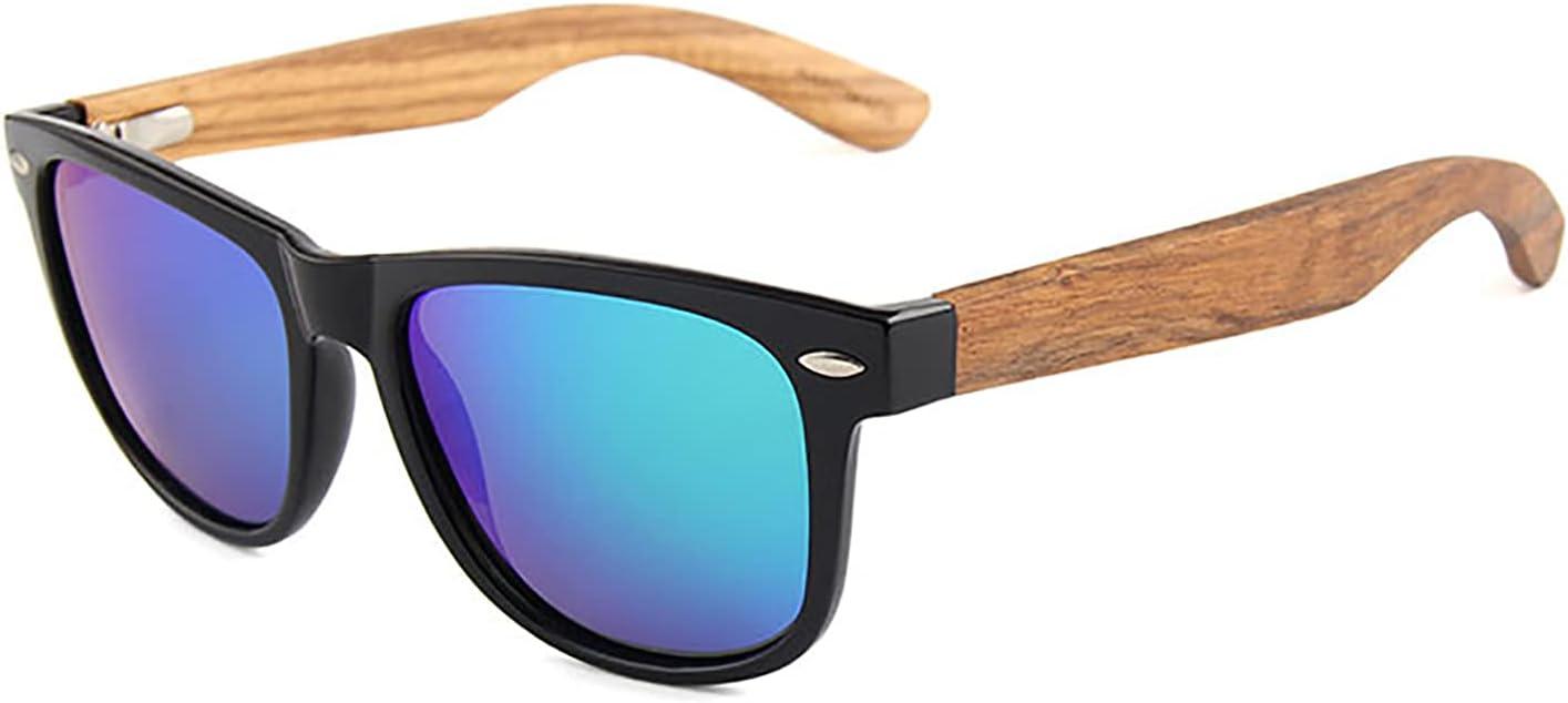 QFSLR Gafas De Sol, Gafas De Sol Polarizadas Redondas Clásicas para Hombre Y Mujer, Gafas De Sol De Madera, Protección Uv400