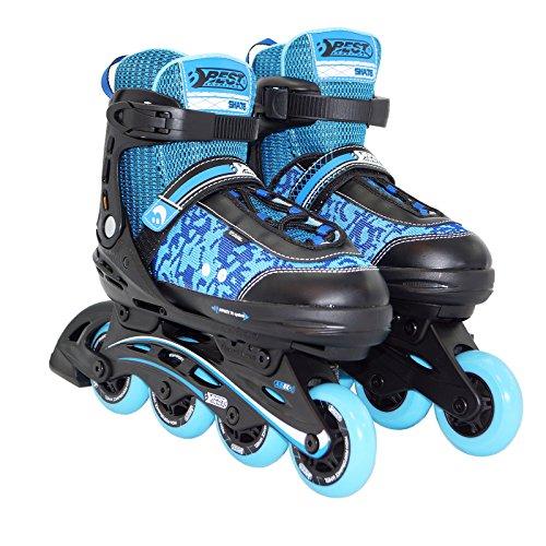 Best Sporting Inline Skates Größe verstellbar, ABEC 5 Carbon, Inliner Kinder und Jugendliche, Farbe: blau/schwarz, Größe:35-40