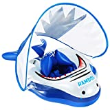 Shark Baby Pool Float Baby with Canopy Baby Swimming Float Inflatable Baby Infant Toddler Pool Float with Safe Bottom Support & Swim Buoy for Age 3-36 Months Large