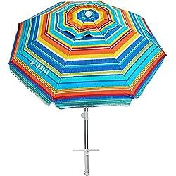 professional AMMSUN Umbrella 6.5ft Umbrella, Sand Anchor and Sloping Aluminum Pole, Portable UV50 + Beach…