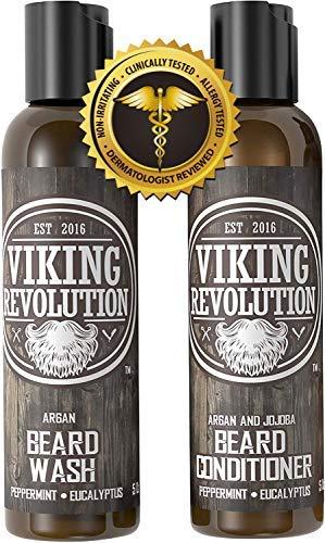 Viking Revolution Shampooing & Après-Shampooing à Barbe. A l'huile d'argan et de Jojoba- Adoucit...