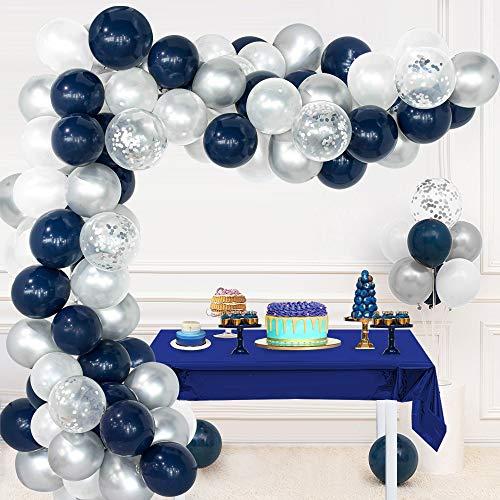 Guirnalda globos blanco azul marino, globos látex blanco azul marino, globos plateados metálicos, globos confeti plateados, herramienta para atar, tira de globos, puntos pegamento para boda cumpleaños