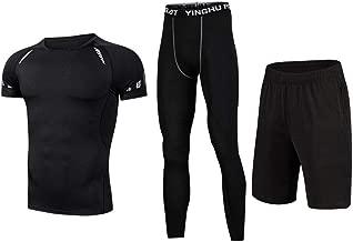 Trainingskleidung für Herren Compression Kurzarm T-Shirt Shorts 3 stücke Herren Sport Fitness Workout Set Mit Kompression Enge Hosen für Radfahren Laufen Gym Fitness (Color : Black, Size : XL)