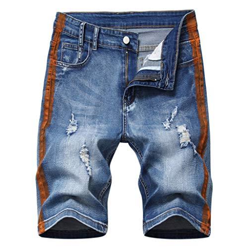 GreatestPAK Pants Jeans-Shorts Herren Mittlere Taille Löcher Knöpfe Kurz Jeanshose Schneiderei Freizeit Shorts,Braun,40(Taille:101.5cm)
