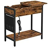 VASAGLE End Table with USB Ports & Power Outlets, Flip Top Side Table with Charging Station, Nightstand with Storage Shelf and Fabric Bag, for Living Room, Bedroom, Rustic Brown and Black ULET310B01V1