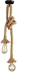 Gdtime Lámpara colgante de estilo industrial vintage lámpara colgante de doble cabeza de cuerda de cáñamo para cafetería...