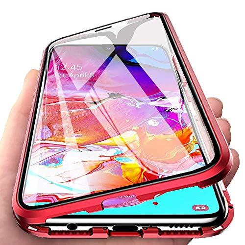 CHIMUCO Funda para Samsung Galaxy S21 FE Carcasa, Adsorción Magnética Parachoques de Metal con 360 Grados Protección Case Transparente Ambos Lados Vidrio Templado Cubierta Cover, Rojo