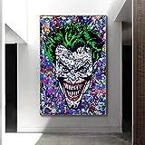 fdgdfgd L'attore Clown Heath Ledger Film Astratto Pittura a Olio Poster e Stampe su Tela Soggiorno Arte murale Immagini Decorazione della casa