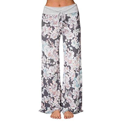 MIARHB Women's Yoga Pants Floral Print Casual Loose Baggy High Waist Wide Leg Pants (XXL, Gray)