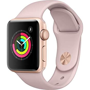 Apple Watch Series 3 (GPS, 38MM) - Gold Aluminum Case with Pink Sand Sport Band (Renewed)