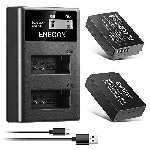 ENEGON Batería LP-E12 (Paquete de 2 de 1200mAh) y Kit de Cargador de LCD Compatible con Las cámaras Digitales Canon Rebel SL1, PowerShot SX70 HS, EOS M, EOS M10, EOS M50, EOS M100