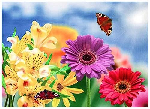 Pintura De Diamante Personalizada 5D Decoración De La Pared Del Hogar Kit De Pintura De Regalo Punto Palo Descompresión Juguete,Mariposa Recogiendo Néctar(70x90cm)