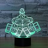 3D Nachtlampe Automatisch, Hantel Fitness Touch Sieben Farbe Fernbedienung Vision Leuchten...
