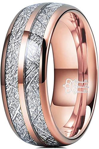 Three Keys 8mm Tungsten Wedding Ring for Men Domed Imitated Meteorite Inlay Rose Gold Mens Meteorite Wedding Band Engagement Ring Promise Ring Size 10